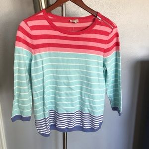 Talbots SP NWT stripe sweater zip shoulder